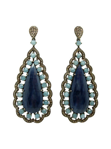D3131 blue saphire and diamonds earring
