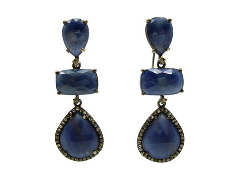 D3132 blue sapphires and diamonds earring