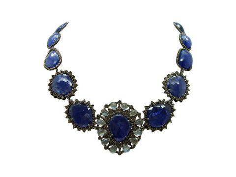 D3137 tanzanite and diamonds necklace