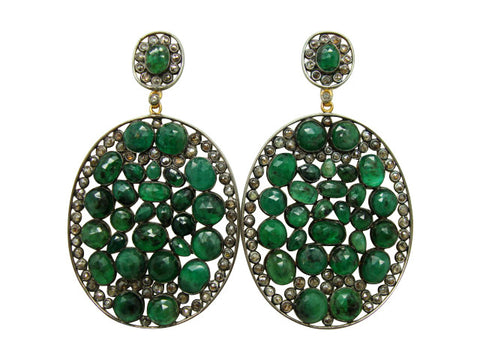 D3138 emeralds and diamonds earring