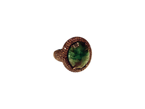 D3165 DIAMOND & EMERALD RING