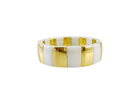 D8104 Bracelet ceramic and gold sections medium