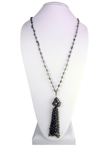 d1030-2 necklace long drop diamonds