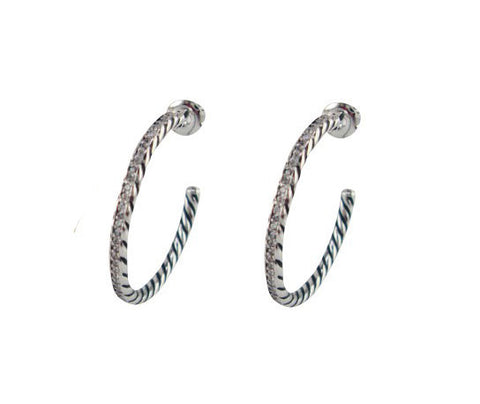 E3079 earring cable and pave hoop