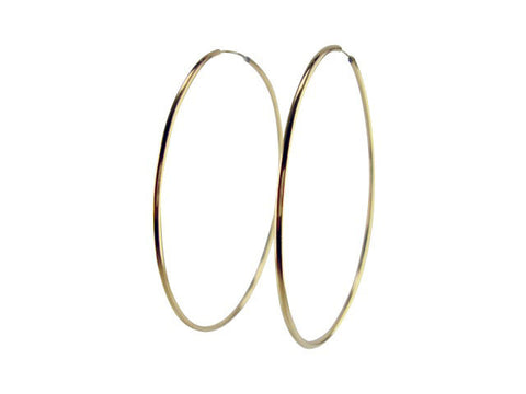 E3130  thin gold hoop with invisible post * LARGE