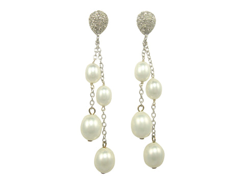 E4531 faux pearls and pave' earring