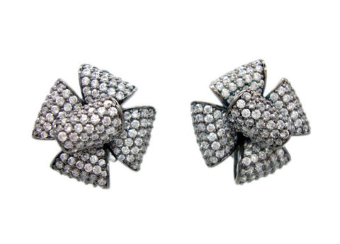 E4893 gold flower pave' earring