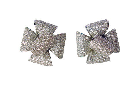 E4893 flower pave' earring