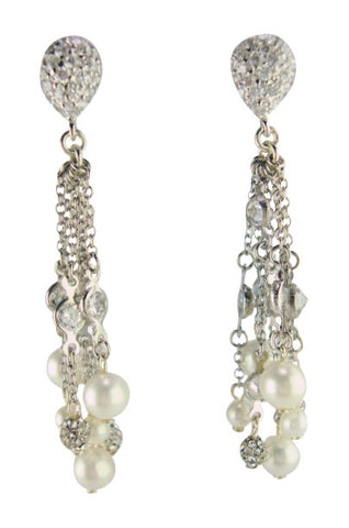 E6454 pave and faux pearl earring
