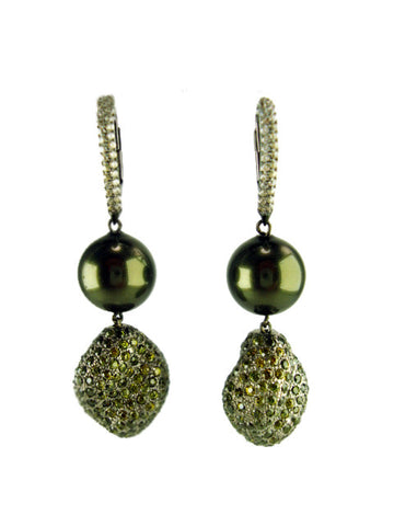 E6455 faux black pearl drop earring