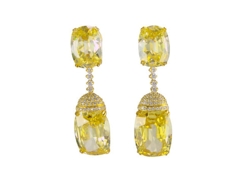 e6693 canary cz drop earring