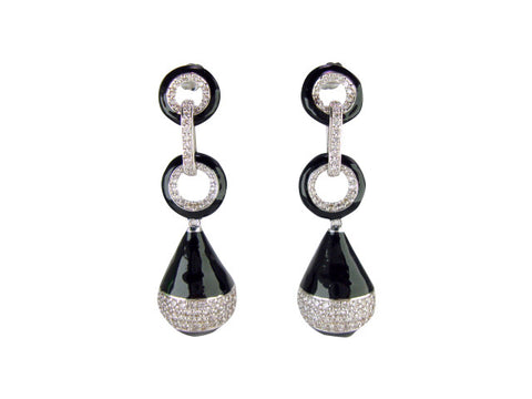 E6707 EARRING BLACK ENAMEL DROP