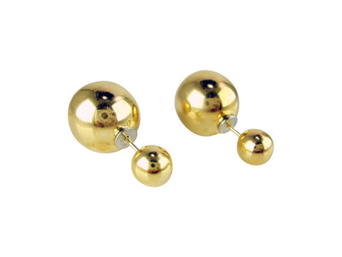 e6774-2 earring double shiny finish ball