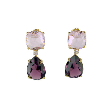e6905-2 earring color faceted crystals