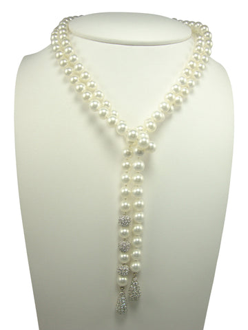 N1694 lariet faux pearls  necklace