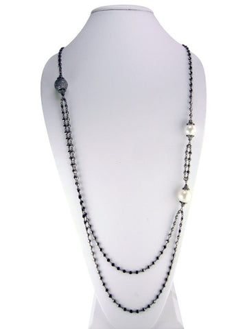 N2003 necklace oxidized multistrand with pearls