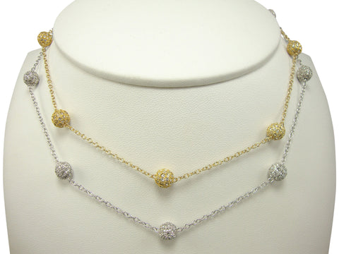 N2427 small pave' balls necklace