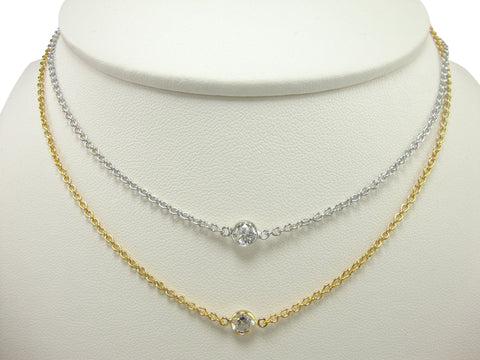 N3058 single cz necklace