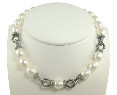 N3079 faux pearl oxidized necklace