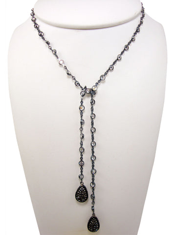 N3116 oxidized lariet necklace