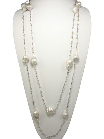 "N3361white gold 60"" necklace"