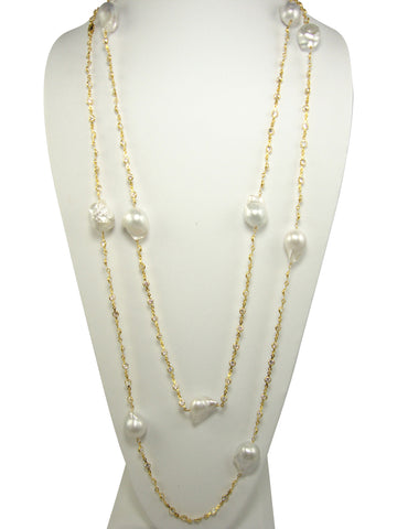 "N3361 yellow gold 60"" necklace"