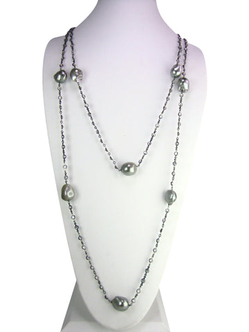"N3361 oxidized 60"" necklace"
