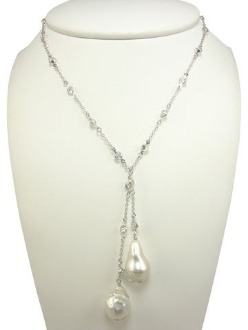 N3414 freshwater pearl lariat necklace- white