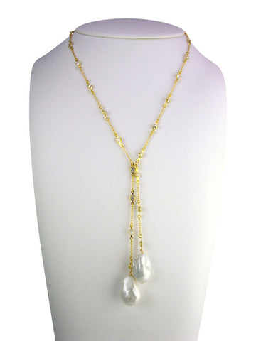 N3414 freshwater pearl lariat necklace- gold
