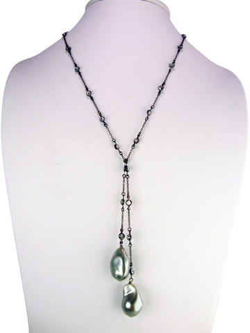 N3414 freshwater pearl lariat necklace- oxidized
