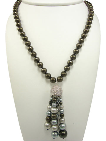 N3563 faux black pearl necklace