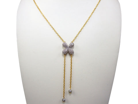 N4037 clover lariet necklace