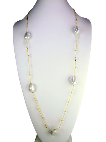 N4128 necklace white freshwater baroque pearls