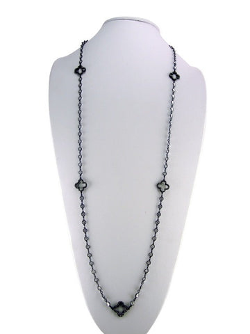 N4249 necklace black plating with clovers