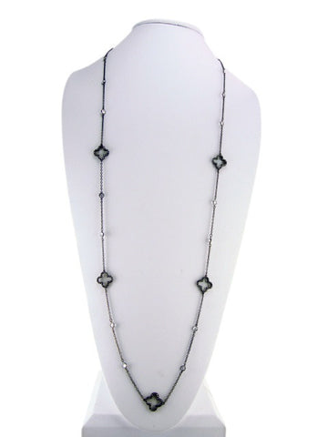 N4249-2 necklace black plating with clovers