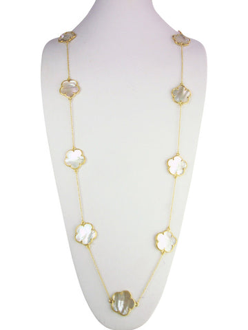 n4265 Flower mother of pearl necklace