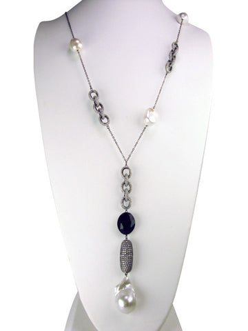 N4299 oxidized and freshwater pearls necklace