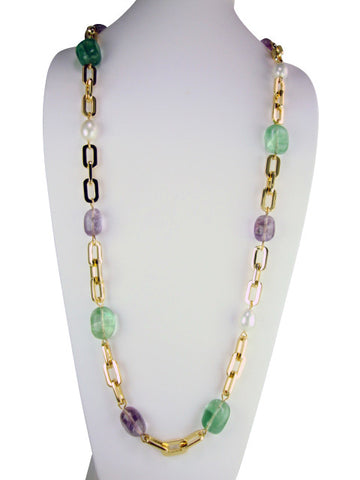 n4398-2 necklace link chain with semiprecious stones