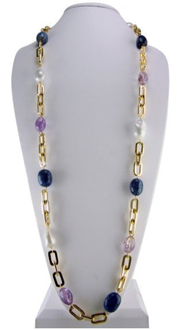 n4398 necklace link chain with semiprecious stones