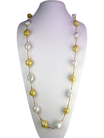 n4623-2 necklace silk and freshwater baroque pearls