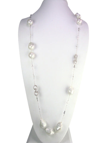 n4628 necklace pave links and freshwater baroque pearls