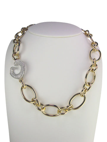 n4642 necklace gold and pave'