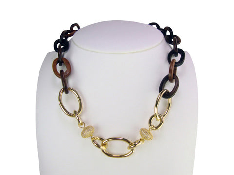 n4643 wood links and gold necklace
