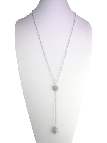 n4655 silver lariat with pave drop