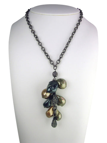 N4740 necklace freshwater baroque pearls drop