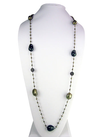 "n4744-5 necklace 36"" freshwater baroque pearls"
