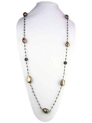 "n4744-3 necklace 36"" freshwater baroque pearls"