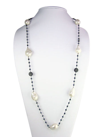 "n4744-2 necklace 36"" freshwater baroque pearls"