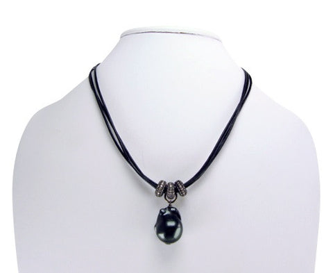 n4945 leather and pearl necklace