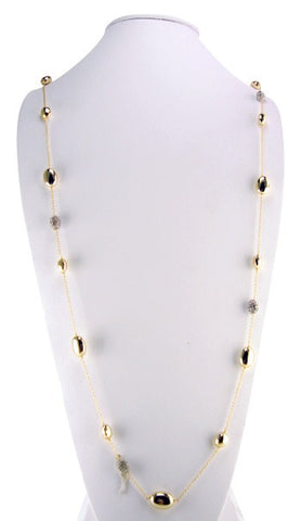 N4978 long gold and pave' necklace